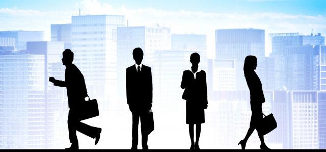 視察する銀行員イメージ